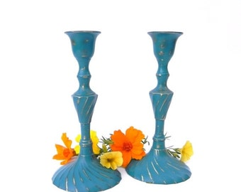 ON SALE Shabby Chic Teal/Turquoise Painted Brass Candlesticks, Table Centerpiece, Fall Table Decor, Upcycled Brass Candlesticks
