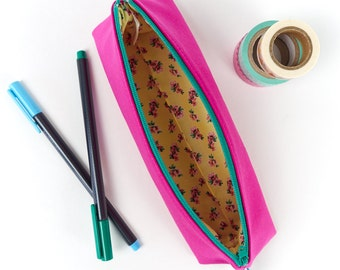 Cute Girls Pencil Case in Bright Pink Fabric Small Makeup Bag Gift for Women Back to School Gift