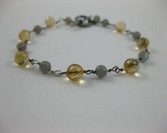 Citrine - Labradorite - Oxidized Sterling Silver Bracelet - 3163