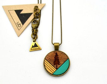 Colour Block Tree with Gold - Small Wood Necklace