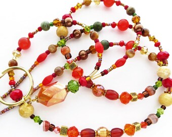 AUTUMN FIRE- Beaded ID Lanyard- Agate Gemstones, Jasper Gemstones, Marble Beads, Pearls, and Sparkling Crystals (Necklace Clasp)