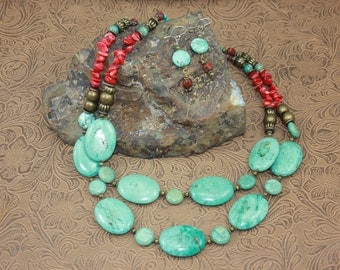 Rustic Chunky Cowgirl Southwestern Turquoise and Red Coral Necklace and Earring Set, Native, Unique, OOAK, Western, Southwest, Gypsy, Boho