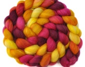Hand dyed combed top roving - Silk / BFL wool 25/75% spinning fiber - 4.2 ounces - Front Runner 2