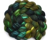 Hand painted combed top roving - Silk / BFL wool 30/70% spinning fiber - 3.9 ounces - Celadon Vessel 1