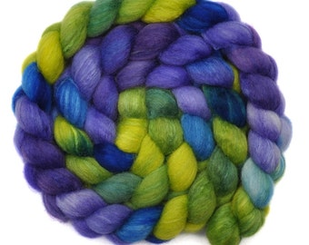 Hand painted spinning fiber - Silk / BFL wool 25/75% roving - 4.0 ounces - Planet View 3