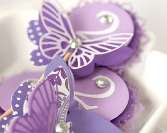 set of 10 purple lavender cupcake toppers with butterflies and numbers
