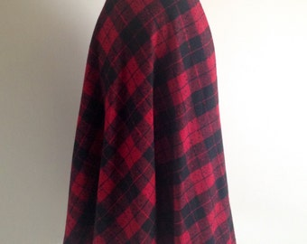 Red and Black Plaid Circle Skirt wool S M