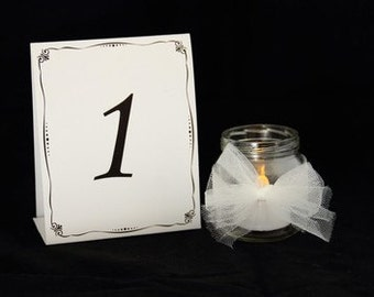 Black & White Table Numbers 1 through 24 - Weddings, Banquets, Events