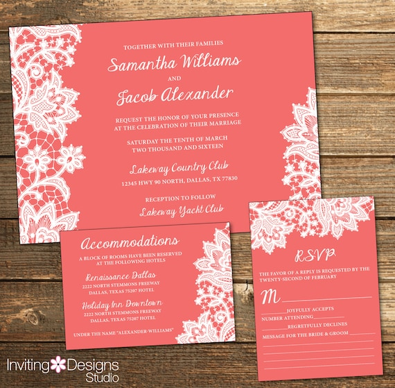 Coral And White Wedding Invitations: Lace Wedding Invitation White Lace Coral Coral And White