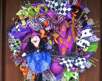 WITCH and HER HOUSE Halloween Wreath
