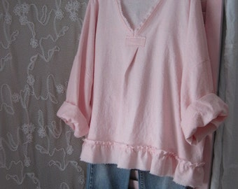 Linen Gypsy BoHo Clothing Bohemian Lagenlook French Beach Summer Shabby Ladies Wear Retro Rustic Hippie XXL Chic Pink Party Romantic Pearl