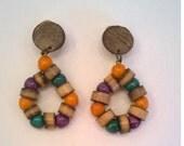 Colorful Wooden Bead Hoop Earrings -  Boho Chic Vintage Clip Earrings