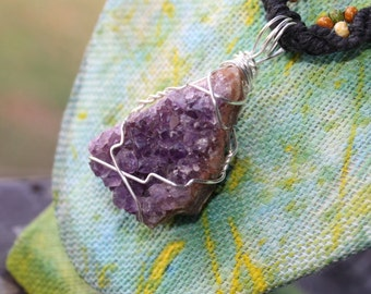 Macrame Hemp Necklace, Amethyst Wrapped Jewelry, Handmade Necklace, Vegan Friendly, Amethyst Necklace, Psychic Enhancement,