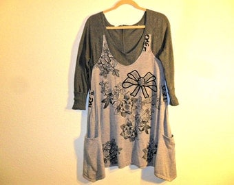 Recycled shirt dress top tunic