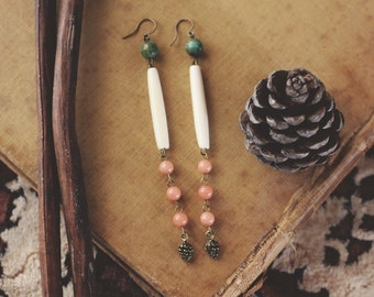 Feminine Bone Bead & Pine Cone Earrings
