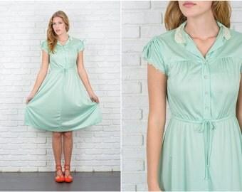 Vintage 70s Mint Green Dress Lace Collar Floral Boho Midi XS Small S 5705 vintage dress 70s dress mint dress lace collar dress xs dress