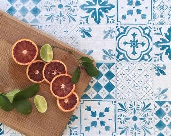 Blue Tiles linen table runner