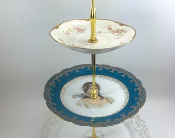 3 Tier Cake Stand Woman in Blue Tea Service Wedding Server Tidbit Tray