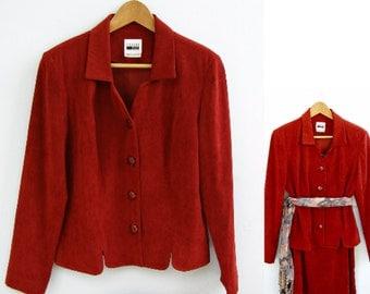 Leslie Fay Suit, Rusty Red Skirt Suit, 70s Woman Jacket US 8 UK 10,  Loose Waist Pencil Skirt,  Mid Century Women Wear, Long Sleeve Blazer