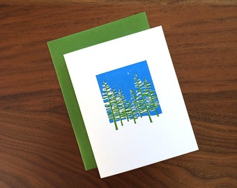 Snowy Trees - Letterpress Holiday Card