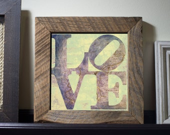 DC Love Purple  - Framed in Reclaimed Barnwood Cities & Travel Decor - Handmade Ready to Hang | Size and Price via Dropdown
