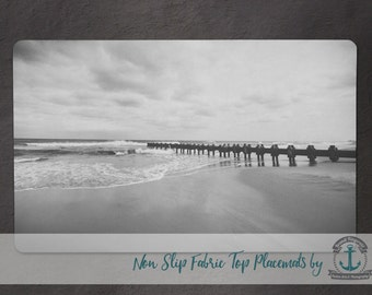 Placemat - Rehoboth Beach | B/W Nautical Beach House Decor | Anti Skid/Non Slip Fabric Top Rubber Backed Awesomeness