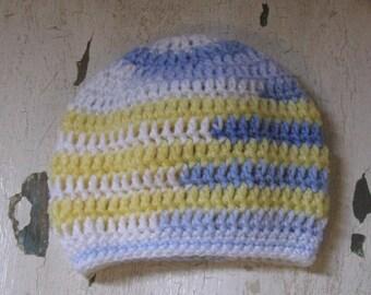 Kid's beanie hat/ Yellow, Blue, White Hat/ Baby Hat