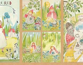 """Little Red Riding Hood The Real Story Panel from Blend Fabric's The Little Red Collection - 24""""x44"""""""