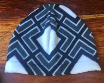 fleece hat, geometric print, winter hat