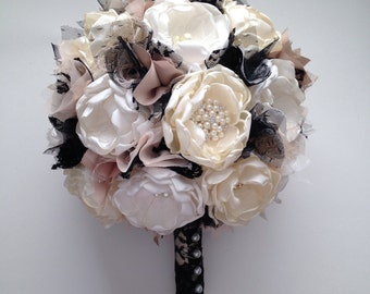 Fabric Bouquet - Extra Large Size - Black Lace, Champagne, Cream and Ivory - Heirloom Bouquet, Handmade Flowers, Fabric Flowers, Gold