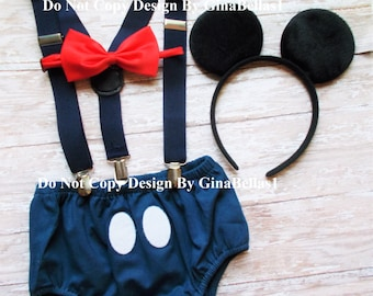 Nautical Birthday cake smash outfit Captain Mickey Mouse clubhouse suspenders boy sailor diaper cover FREE EARS boy 9 12 18 24 toddler