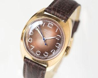 Modern men's watch Poljot\Flight, gold plated AU 10 men's watch, brown face Soviet guy wristwath, men accessory, premium leather strap new