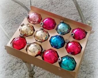 SUMMER SALE Dozen Shiny Brites -  Vintage Christmas Tree Ornaments - Red Pink Gold Teal