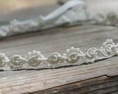Flower Girl Headband Pearls and Lace Ivory or White Wedding Bridal, Christening, Child Headband Baby Girl