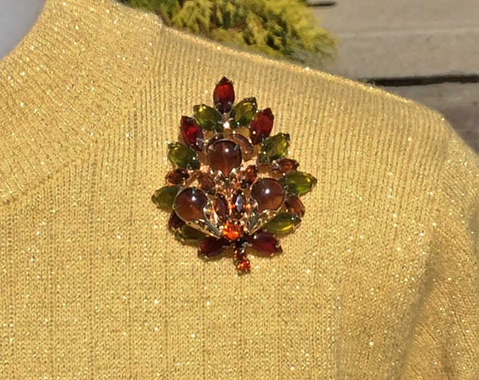 Featured listing image: Juliana Style Large  Rhinestone Pin with Open Back Navettes in Green, Ruby & Topaz Quality Vintage Rhinestone Brooch Jewelry Gift for Her
