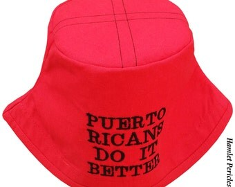 Puerto Ricans Do It Better Embroidered Bucket Hat | Red Hat | | Puerto Rican | Puerto Rico | Boricua | Red Hat by Hamlet P.| HP31016d