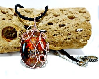 Dragon Vein Agate Pendant Necklace, 14kt Rose Gold wrap, Fall, Autumn Colors, orange, black, brown, rust, braided leather cord, art toggle