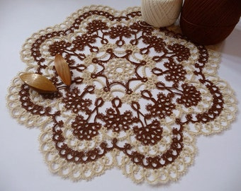 Handcrafted Tatting Doily - Home decor - Housewarming - tatting shuttle - Lace doily - round doily - doily tatting - brown and ivory doily