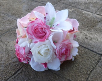 Real touch rose, fabric orchid bridesmaids bouquet, small bouquet
