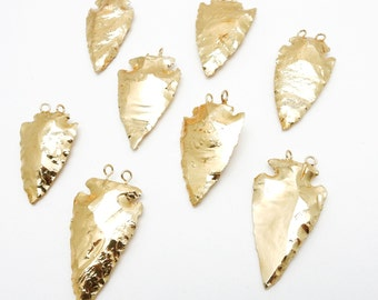 Amazing Double Bail Arrowhead Dipped in 24k gold Electroplated Pendant Charm S75B20