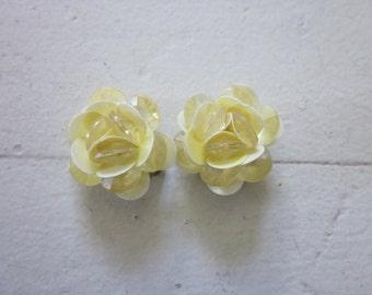 SUMMER SALE! Yellow flower -Vintage earrings