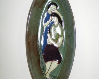 Harris G Strong Art Pottery Two Women Oval Tray B-81-A - Signed Mid Century Modern Dish