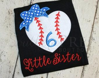 Baseball Little Sister Applique Shirt - Girl's Baseball Applique Design - Custom Monogram or Name - Boy's Baseball - Spring Sports Applique