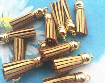 High quality 100pcs 40mm gold cap Metallic gold suede leather tassel pendant charms findings