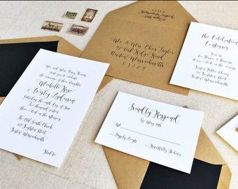 Calligraphy Wedding Invitation. Traditional Invitation Suite. Black & Kraft Wedding Stationery. Rustic Invitation for Modern Weddings.