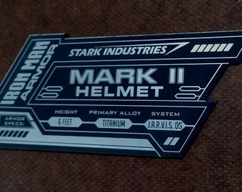 IRON MAN Mark 2 Display Name Placard For Your HELMET Armor ii