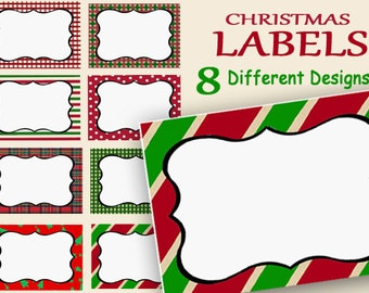 Christmas Labels Printable, Holiday Name Tags, Food Labels, Party Labels, Jar Labels, Digital Gift Tags, Frames, Place Cards, red green