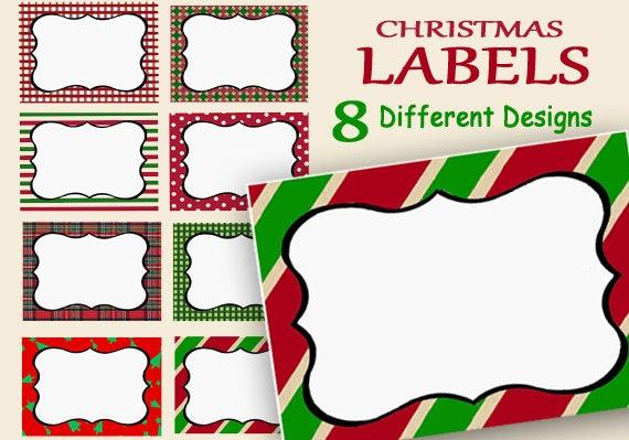 Christmas Name Tags: Christmas Labels Printable Holiday Name Tags Food Labels
