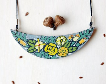 Colorful bib necklace, wooden flower necklace,floral necklace,bib necklace,wearable art, unique gift for her