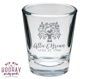 Tree Shot Glass, Rustic Wedding, Personalized Shot Glasses, Wedding Favors, Wedding Shot Glasses, Custom Shot Glasses, Shot Glasses, 1149